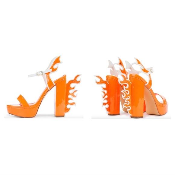 Bnib Neon Orange Flame Platform Heels